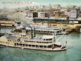 Saint Louis, Missouri: River Front, with Steamboat Photographic Print