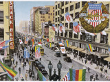 Los Angeles: Main Street Decked Out in Flags in Honour of the Olympic Games Photographic Print