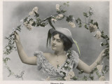 A Pretty Woman with a Garland of Flowers Photographic Print