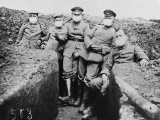 Men of the 4th Company, 27th Regiment Wearing the First Gas Masks During World War I Photographic Print by Robert Hunt