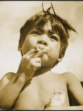 Moro Boy Smoking Photographic Print