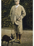 Edward VII Stands Regally with His French Bulldog Photographic Print