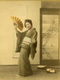 Japanese Woman in Kimono with Fan Photographic Print
