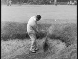 E.G. Lester Plays from a Bunker at Sunningdale, During the Daks Golf Tournament Photographic Print
