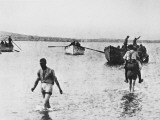 Carrying Wounded to Boats in Suvla Bay at Gallipoli During World War I Photographic Print by Robert Hunt