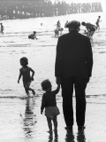 Old Man with Young Child at Blackpool Photographic Print by Shirley Baker
