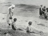 Sea Bathing at Millfield Seaside Home, Littlehampton, Sussex Photographic Print by Peter Higginbotham