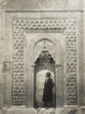 A Tourist before an Elaborate Turkish Carved Alcove Photographic Print