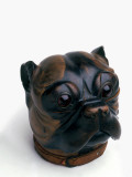 A Carved, Polished Wooden Tobacco Holder in the Shape of a Dog (Possibly a Bulldog) Photographic Print