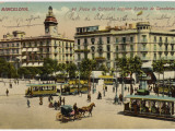 Barcelona: Plaza De Cataluna with People and Traffic Photographic Print