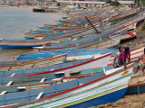 Colourful Fishing Boats Lined Up on the Shore at Vishinjam, Trivandrum, Kerala State, India Photographic Print