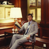 Retro Businessman in Panelled Room, Gray Suit, Mens Club Photographic Print