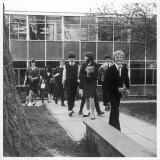 Pupils Coming Out of School at Holmshill Middle School in Borehamwood, Hertfordshire Photographic Print by Henry Grant