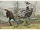A Japanese Lady Travels by Rickshaw in a Country Setting Fotografická reprodukce