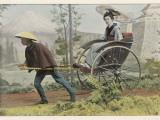 A Japanese Lady Travels by Rickshaw in a Country Setting - Fotografik Baskı