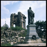 Dresden: Ruins of the Frauenkirche (Church of Our Lady) with a Statue of Martin Luther Photographic Print