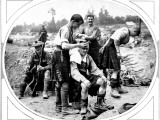A Scottish Army Barber Is Shown Cutting Another Soldier's Hair, August 1916 Photographic Print