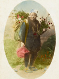 A Delightful Postcard Photograph of a Slightly Elderly Japanese Flower Seller Photographic Print
