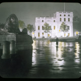 A Girl Stands in Trafalgar Square at Night Photographic Print