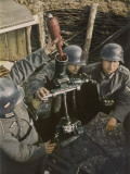 German Mortar Crew in Action Photographic Print