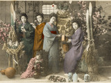 Four Japanese Women Amid Bamboo with a Young Child Photographic Print