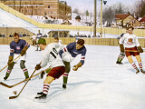 Ice Hockey: Canada Beating USA 2-1 at Lake Placid Photographic Print