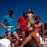Retro Male and Female Swimsuit Models, Group, Couples, Swimwear, 1970s Photographic Print