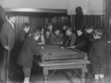 A Group of Fifteen Boys Cram around a Snooker Table During an Evening Game at a Boys Club Photographic Print