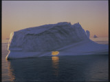 Icebergs in the Mignight Sun Near Aasiaat (Egedesminde), Greenland Photographic Print