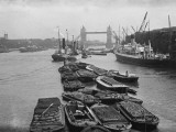 Barges on the Thames, Seen from London Bridge, Looking Towards Tower Bridge Photographic Print