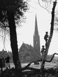 Boys Swing on and Climb Trees in Manchester Photographic Print by Shirley Baker