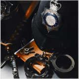 Metropolitan Police Equipment Including a Helmet, Handcuffs, Whistle, Keys and Truncheon Photographic Print