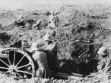 German Trench Gun in Action on the Somme During World War I Photographic Print by Robert Hunt