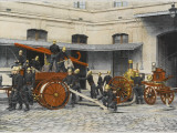French Sapeurs-Pompiers Manoeuvre their Engines at the Scene of a Fire Photographic Print