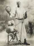 Egyptian Street Entertainer with Performing Monkey Photographic Print