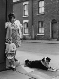 Mother Daughter and Pet Dog on Salford Street Corner Photographic Print by Shirley Baker