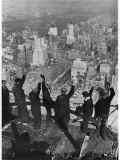 Building Workers Wave to the City Below Them Photographic Print