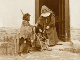Shanghai - Nun Giving Alms to Young Beggar Children Photographic Print