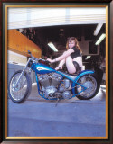 Pin-Up Girl: Blue Chopper Framed Giclee Print by David Perry