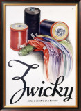 Zwicky Embroidery Spool Thread Poster Framed Giclee Print