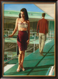 Pin-Up Girl: Caribbean Motel Framed Giclee Print by Richie Fahey