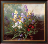 Landscape with Irises Print by Barbara Koch