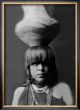 San Ildefonso Girl with Jar Framed Giclee Print by Edward S. Curtis