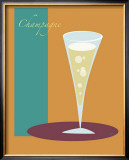 Champagne Flute in Orange Framed Giclee Print by  ATOM