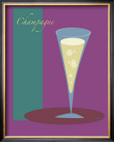 Champagne Flute in Purple Framed Giclee Print by  ATOM