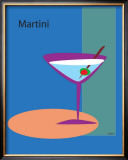 Martini in Blue Framed Giclee Print by  ATOM