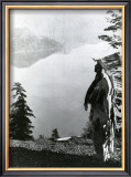 Praying to the Spirits at Crater Lake, Klamath Art by Edward S. Curtis