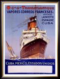 Transatlantique, Vapores Correos Franceses Framed Giclee Print by Albert Sebille