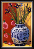 Irises in an Oriental Vase I Poster by Curtis Kelly