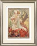 Lefevre-Utile, Sara Bernhard Framed Giclee Print by Alphonse Mucha